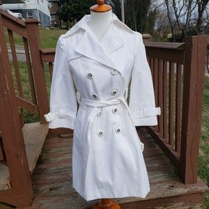 Guess Belted & Pleated White Trench Coat